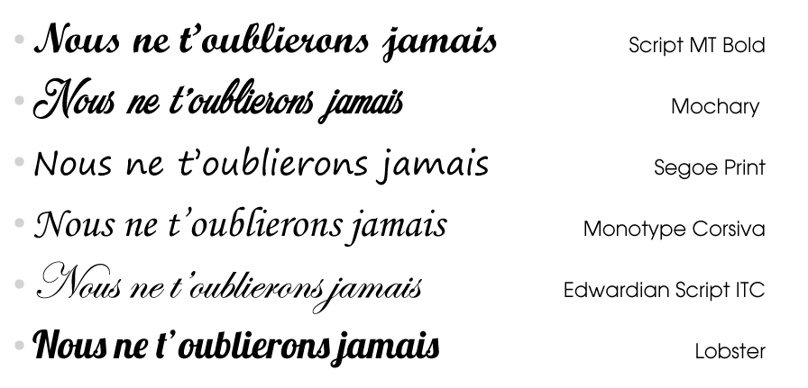 police décriture monotype corsiva